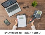 business woman working in office | Shutterstock . vector #501471850