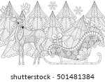 reindeer with sledges of santa... | Shutterstock .eps vector #501481384