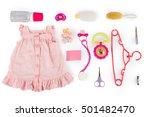set for girl baby. on white ... | Shutterstock . vector #501482470