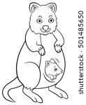 coloring pages. mother quokka...