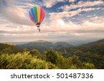 hot air balloon over forest...   Shutterstock . vector #501487336