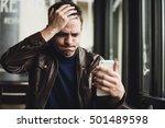closeup portrait  stressed... | Shutterstock . vector #501489598