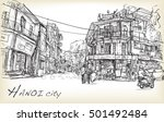 sketch of hanoi town street and ... | Shutterstock .eps vector #501492484