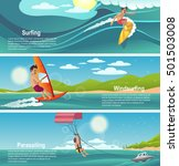 summer sports banner. surfing ... | Shutterstock .eps vector #501503008