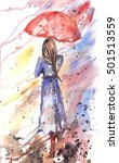 Watercolor Beautiful Girl With...