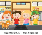 four kids standing in kitchen... | Shutterstock .eps vector #501520120