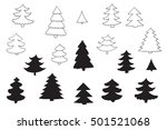 fir tree line silhouette set | Shutterstock . vector #501521068