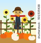 scarecrow with pumpkins and... | Shutterstock .eps vector #501535438