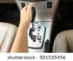 driver hand on automatic gear...   Shutterstock . vector #501535456