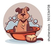 wash your pet  funny cartoon... | Shutterstock .eps vector #501536938