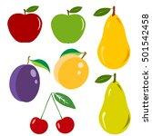 fruit  set fruit  apple  pear ... | Shutterstock .eps vector #501542458