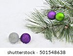 Four Silver  Green And Purple...