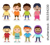 multicultural kids group... | Shutterstock .eps vector #501554230
