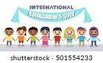 smiling children holding hands. ... | Shutterstock .eps vector #501554233