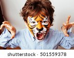 Little Cute Boy With Faceart O...