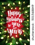 christmas card with pine wreath ... | Shutterstock .eps vector #501568849