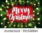 christmas card with pine wreath ... | Shutterstock .eps vector #501568864