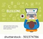 blogging concept. man typing an ... | Shutterstock .eps vector #501574786