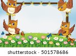 frame template with owls flying ... | Shutterstock .eps vector #501578686