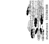 feathers hanging down on... | Shutterstock .eps vector #501586588