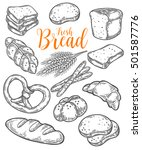 bread vector hand drawn set... | Shutterstock .eps vector #501587776