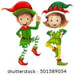 male and female elves on white... | Shutterstock .eps vector #501589054