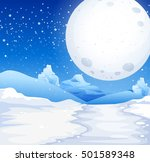 scene with fullmoon on snowy... | Shutterstock .eps vector #501589348