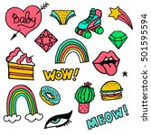 set of stickers  pins  patches... | Shutterstock .eps vector #501595594