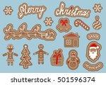 set of gingerbread. merry... | Shutterstock .eps vector #501596374