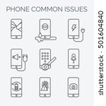 phone common issues line icons. ... | Shutterstock .eps vector #501604840