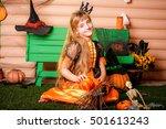 happy halloween  cute cheerful... | Shutterstock . vector #501613243