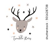 cute deer head with message... | Shutterstock .eps vector #501628738