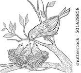 Decorative Doodle Bird And Nes...