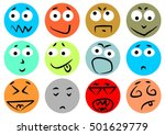 multicolored rounded emoticons | Shutterstock .eps vector #501629779