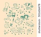 vector monochrome sketchy set... | Shutterstock .eps vector #501636478