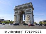 the famous arc de triomphe... | Shutterstock . vector #501644338