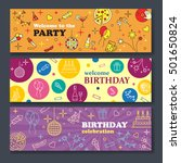 happy birthday card. confetti ... | Shutterstock .eps vector #501650824
