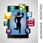 fitness app technology icons... | Shutterstock .eps vector #501657463