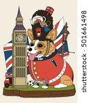 corgi dog and british elements...   Shutterstock .eps vector #501661498