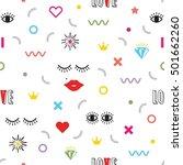 colorful modern retro feminine... | Shutterstock .eps vector #501662260