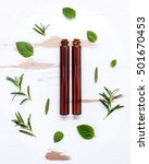 bottle of essential oil with ... | Shutterstock . vector #501670453