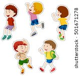 sticker set of happy boys... | Shutterstock .eps vector #501671278