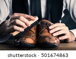 men to care for leather shoes | Shutterstock . vector #501674863