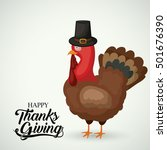 turkey with hat of thanks given ... | Shutterstock .eps vector #501676390