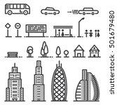 urban flat monochrome objects.... | Shutterstock .eps vector #501679480