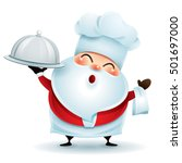 chef santa claus with a serving ... | Shutterstock .eps vector #501697000