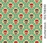 seamless pattern with skull and ... | Shutterstock .eps vector #501708340