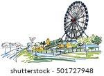 Ferris Wheel In The Park Sketch