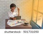 young businessmen sit across... | Shutterstock . vector #501731050