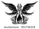 a young angel with big black... | Shutterstock .eps vector #501736318